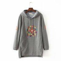 winter Floral embroidery hoodies women Sweatshirts autumn hoodie sweatshirt hip hop hoodies