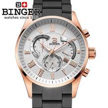 Switzerland men's watch luxury brand Wristwatches BINGER Quartz watch full stainless steel Chronograph Diver glowwatch BG-0407-4