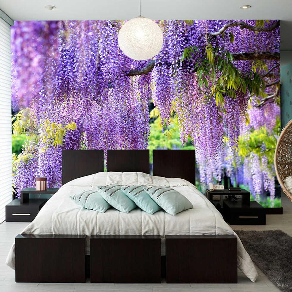 مخصص طباعة البوسترات ثلاثية الأبعاد رومانسية الأرجواني زهرة الكَرْم طلاء جدران غرفة المعيشة غرفة نوم صور خلفية جدارية خلفية ديكور