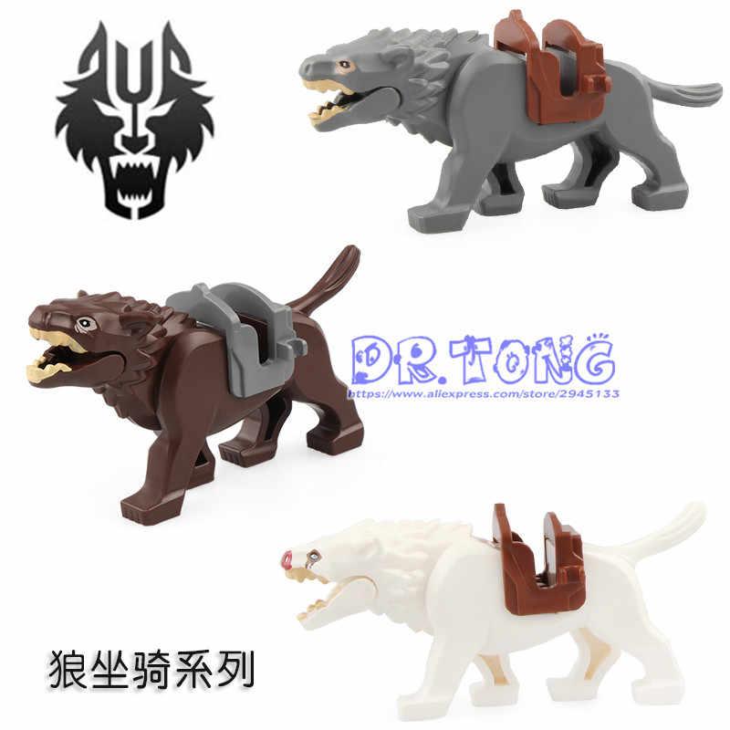 Modelos de bloques de construcción de caballos de guerra figuras de lobo del señor del anillo RZ200 RZ201 RZ202