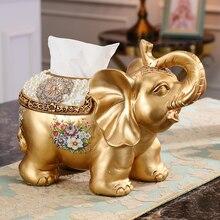 European resin luxury ornaments elephant tissue box wedding gift sample living room coffee table decoration
