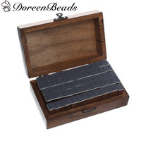 DoreenBeads Wooden Box Seal Stamper Set Cuboid Shape Brown Alphabet Letter A Z Number 0 9