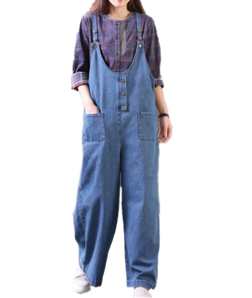 YESNO PN8 Women Casual Overalls Rompers Jeans Denim Pants 100% Cotton Button-Up Wide Leg Pockets