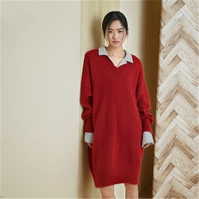 100% Hand Made Wool Knit Women Streetwwear Vneck Solid H-straight Long Slim Pullover Sweater One&over Size