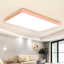 Dimmer led ceiling light with Ultra-thin 6cm wood mission lighting for living room bedroom flush mount home Decorative Lampshade