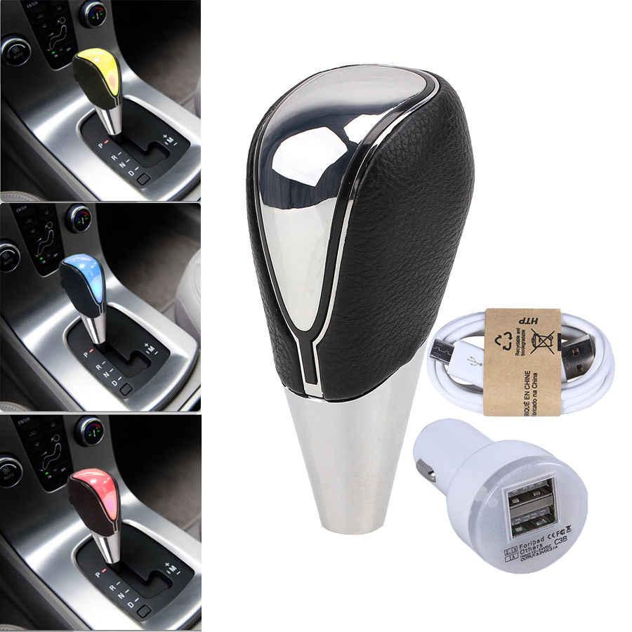 POSSBAY, pomo de engranaje LED para Peugeot, Ford, Opel, perilla de palanca de cambios de coche, 5/6 velocidades, palanca de cambio colorida, piezas interiores universales
