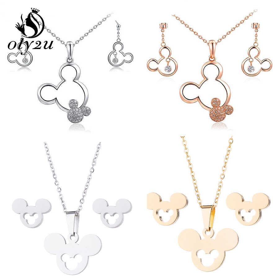 Oly2u Mickey Kalung Set untuk Wanita Anting-Anting Anting-Anting Kalung Set Perhiasan Natal Kalung Kalung Anting-Anting Perhiasan Set