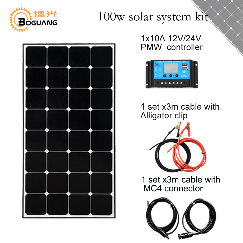 Solarparts 1x100W Monocrystalline Solar Module high efficiency back contact solar panel cell system DIY kits RV marine home camp solarparts 1x 30w flexible photovoltaic solar panel battery charger system kits solar cell high efficiency 12v diy kit rv marine