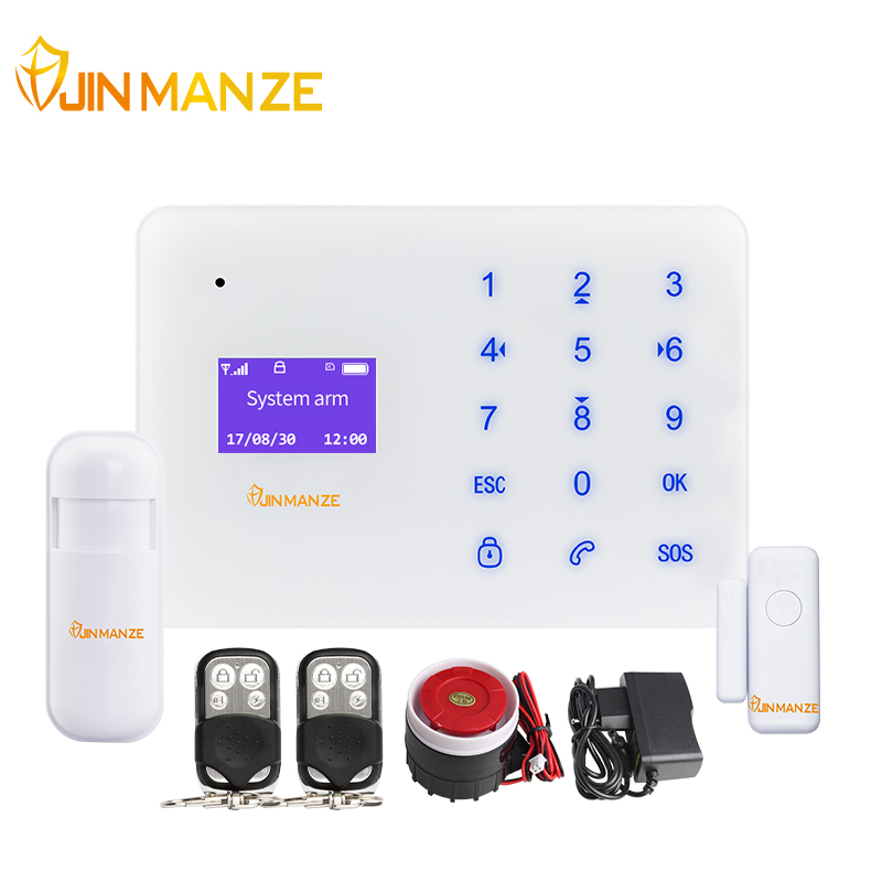 JINMANZE A2 Wireless Phone SIM Home Burglar Security GSM Alarm System English Russian Spanish French Voice Prompt Sensor kit g63 wireless wired phone sim gsm home burglar security gsm alarm system english russian spansih voice prompt alarm sensor kit