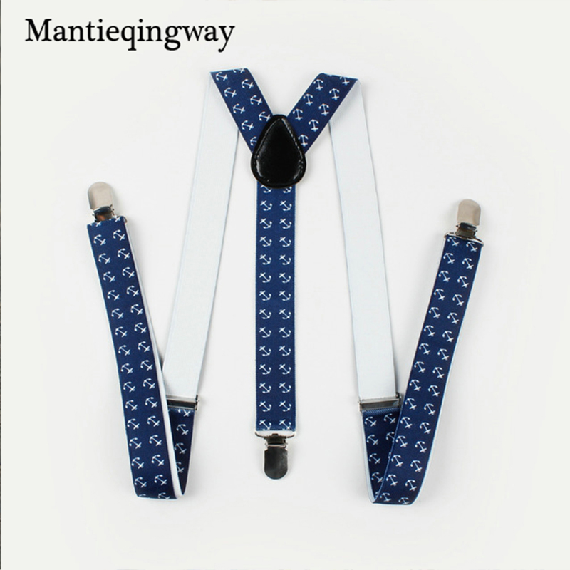 Mantieqingway Men's Suits Anchors Plaid Suspenders Men Y-shape Clips-on 3 Clip Suspenders Belt Strap Adjustable Shirts Braces