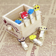 12pcs/bag kawaii animal cartoon Spring Wood Clips cute stationery party Decoration Photo Paper Craft Diy Clips With Hemp Rope