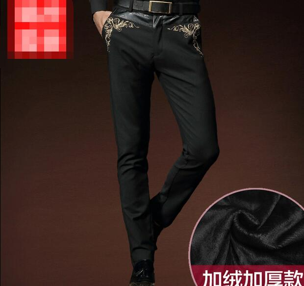 Fanzhuan Free Shipping fashion casual Men's New man winter Trousers Black Slim Embroidery Male pants 5180031 velvet personality