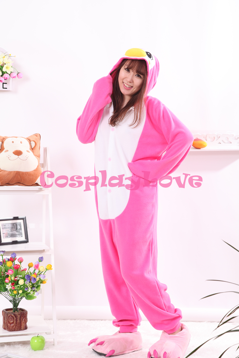 Pink Penguin Pajamas Animal Cosplay Costume Kid Adult Pajamas Onesies Cartoon Sleepwear Sleepsuit