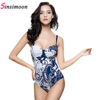 2017 Retro Vintage Flowers Swimwear Sexy Bodysuit Women New Trendy Backless One Piece Swimsuit High Quality