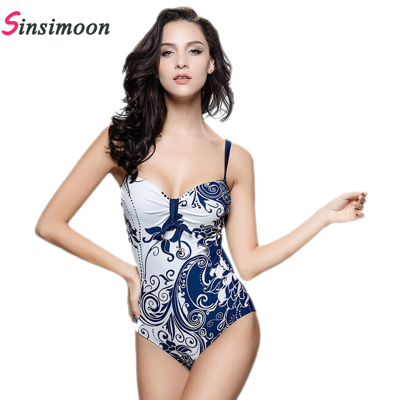 2018 Retro vintage Flowers Swimwear Sexy Bodysuit Women New Trendy Backless One Piece Swimsuit High Quality Swimming suit 11051 2017 new sexy one piece swimsuit strappy biquini high waist one piece swimwear women bodysuit plus size bathing suits monokinis