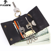 P.KUONE New Men's key bag Genuine Leather Wallet Tri fold key case Multi function coin purse Top layer Leather Car Key case bag