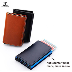 Image 2 - VM MODA BEIJO RFID Couro Genuíno Carteira Minimalista DIY Metal de Alumínio Seguro Id Titular Do Cartão de Crédito Da Bolsa Titular Do Cartão