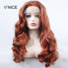 V'NICE Long Body Wave Red Middle Part Wig Hand Tied High Tem