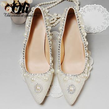 White pointed toe single shoes the bride wedding shoes female thin heels princess shoes high-heeled shoes rhinestone pearl shoes