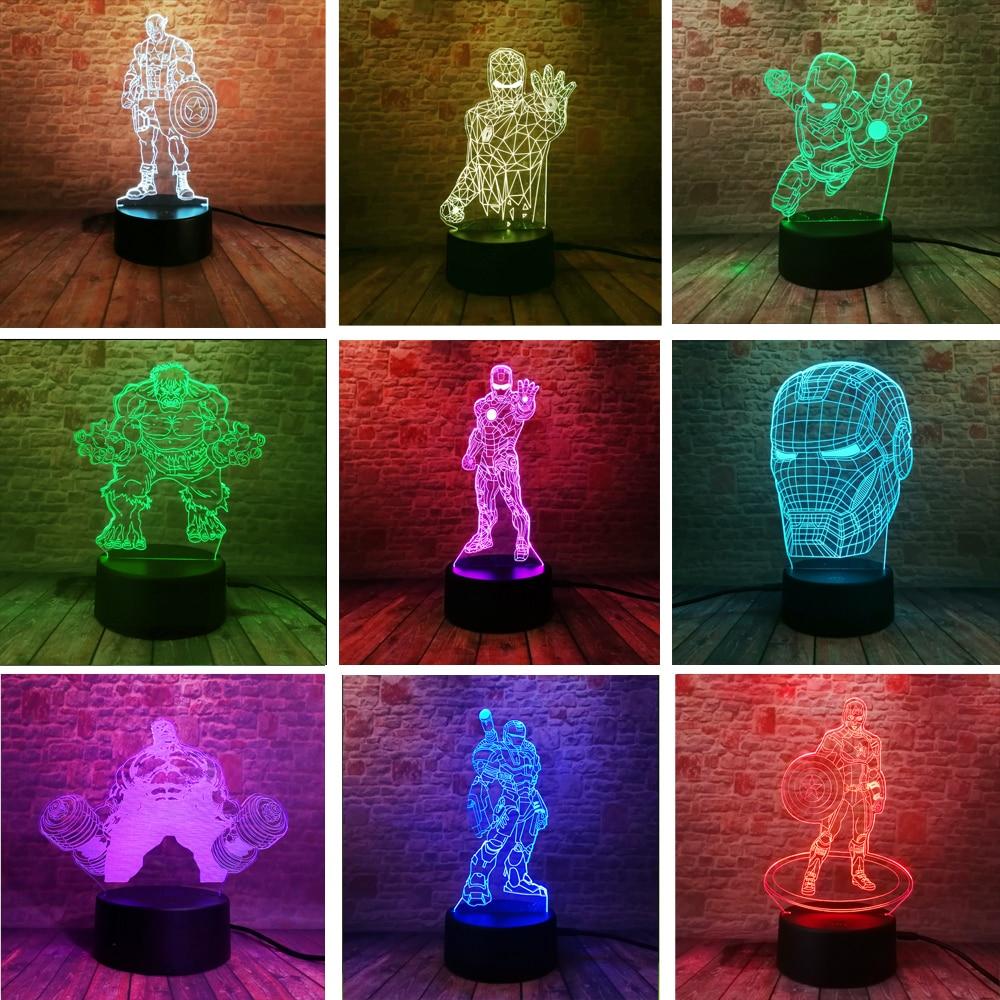 Amroe Marvel Avengers Iron Man Maske Allianz Hulk Captain America USB Touch 7 Farbe Dimmen Gradienten Nacht Lichter Fans Spielzeug geschenke