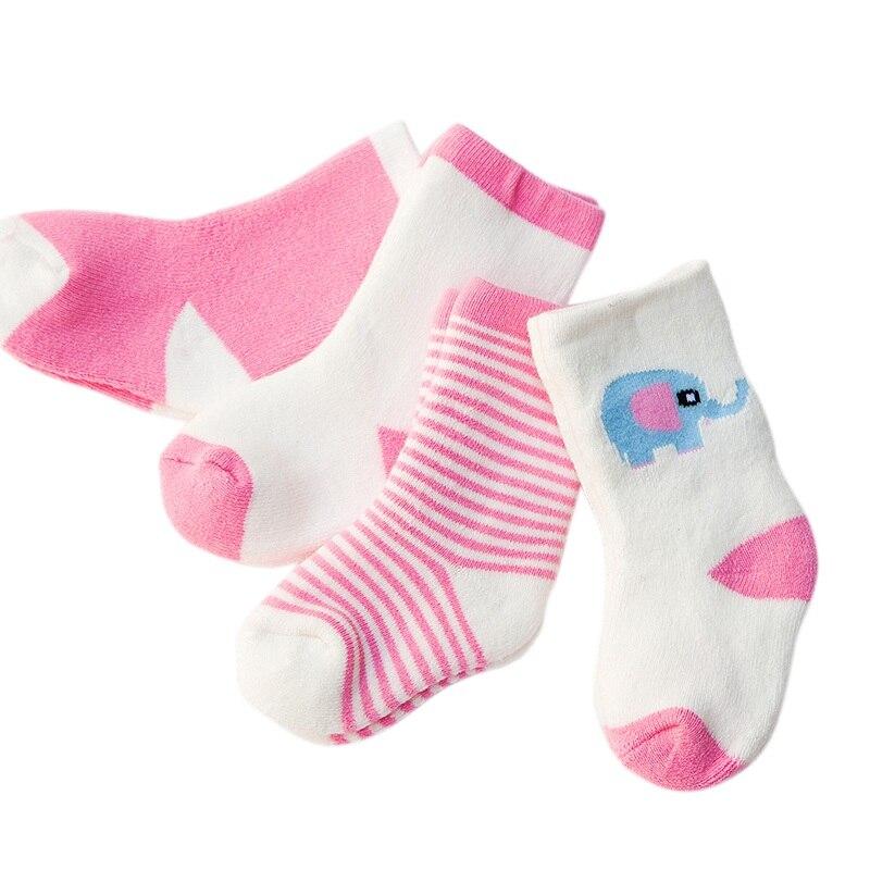 Obligatorisch 4 Paare/satz Baby Socken Cartoon Striped Muster Socken Für 0-3 Jahre Neugeborenen Jungen Mädchen Weiche Socken Baumwolle Socken Einen Effekt In Richtung Klare Sicht Erzeugen Socken & Strumpfhosen