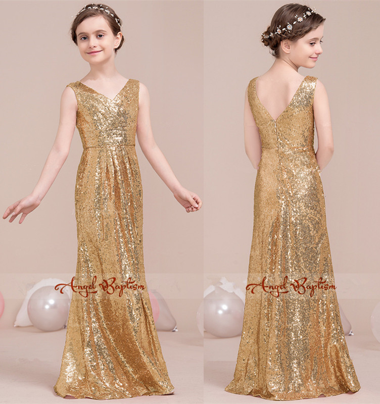 Gold sequined V-neck flower girl dresses A-Line Floor-Length for Junior Bridesmaid With Ruffle for birthday party and wedding v neck ruffle denim top