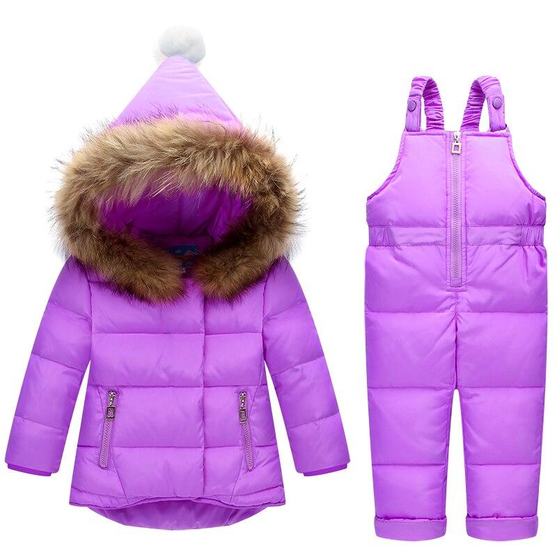 Enfants Vêtements Ensembles 2 pc Habit de Neige pour Garçons Filles D'hiver Enfants Chaud Vestes Enfant Survêtement + Bib Pantalon Vêtements Russe hiver