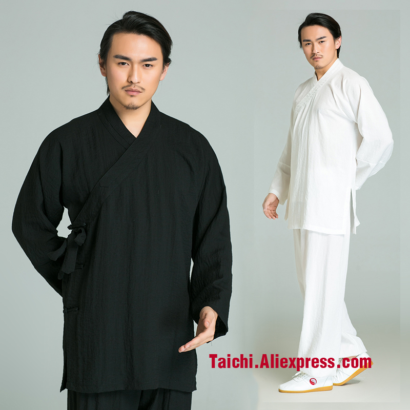 Surplice Handmade Linen Tai Chi Uniform Wushu, Kung Fu,martial Art Suit,Flax And Cotten Taoist Priest Clothes ,black,white,b