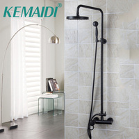 Bathroom Shower Set Oil Rubbed Bronze Wall Mounted Shower Faucet 8 Shower Head Mixer Tap Water