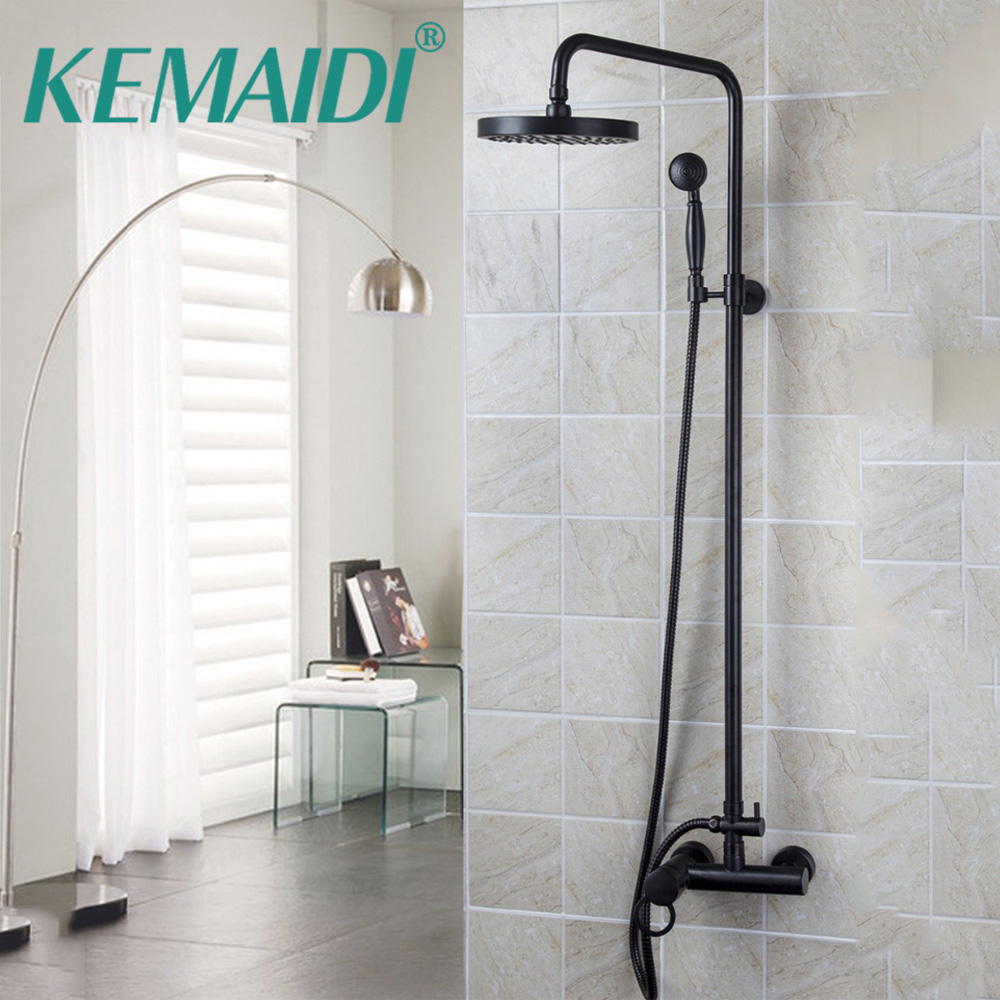 Bathroom Shower Set Oil Rubbed Bronze Wall Mounted Shower Faucet 8 Shower Head Mixer Tap Water Shower Set Waterfall Rain Faucet china sanitary ware chrome wall mount thermostatic water tap water saver thermostatic shower faucet