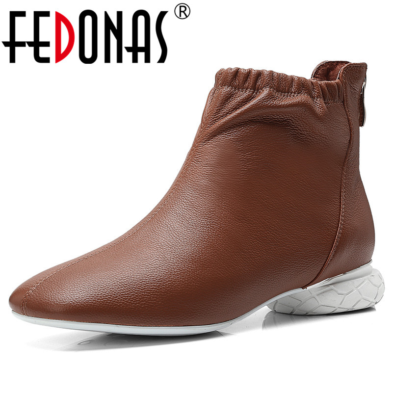 FEDONAS Fashion Brand Women Genuine Leather Ankle Boots Low Heels Autumn Winter Martin Shoes Woman Zipper Motorcycle Boots цена 2017
