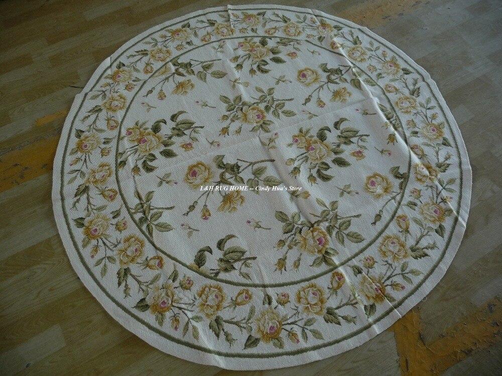 Livraison gratuite 6' X 6' tapis de zone de couture en laine rose jaune or Floral fait à la main nouveau