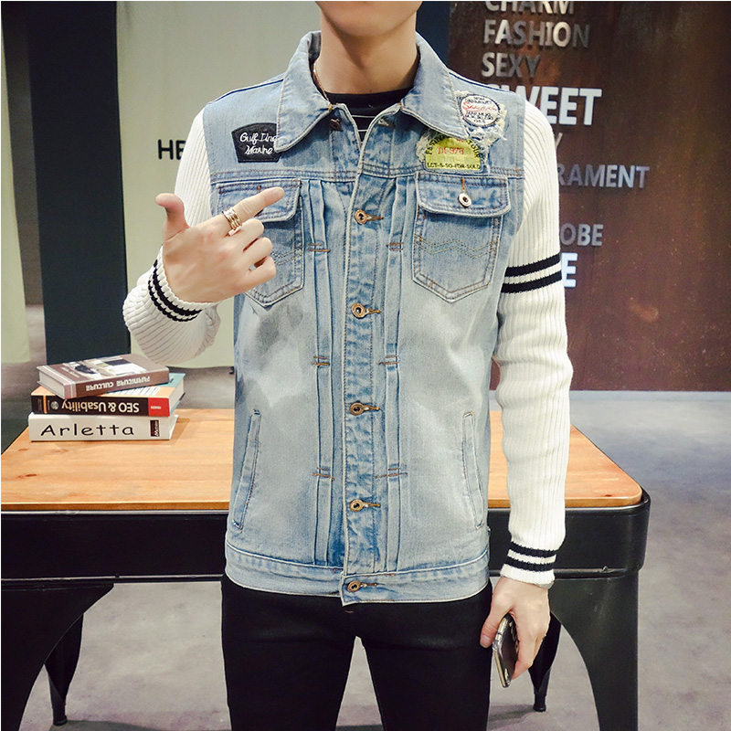 HOT Sale Denim Jackets Men 5XL New Casual Patchwork Knitted Sleeves Outerwear Youthfulness Style Oversized 4XL Jeans Coats #933
