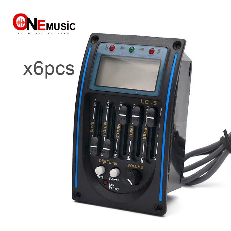 6pcs LC 5 5 Bands Acoustic Guitar Pickup Preamp EQ LCD Tuner Piezo Pickup Equalizer System