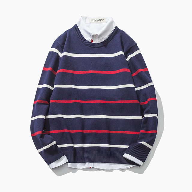 2016 Autumn New Arrival Men's Sweater Fashion O Neck Stripe Color Block Decoration Sweater Men Casual Knitted Mens Pullovers 5XL
