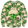 New Popular Pokemon Snorlax Pattern High Quality Professional Digital Printing and Dyeing Loose No Hood Sweatshirt for Men