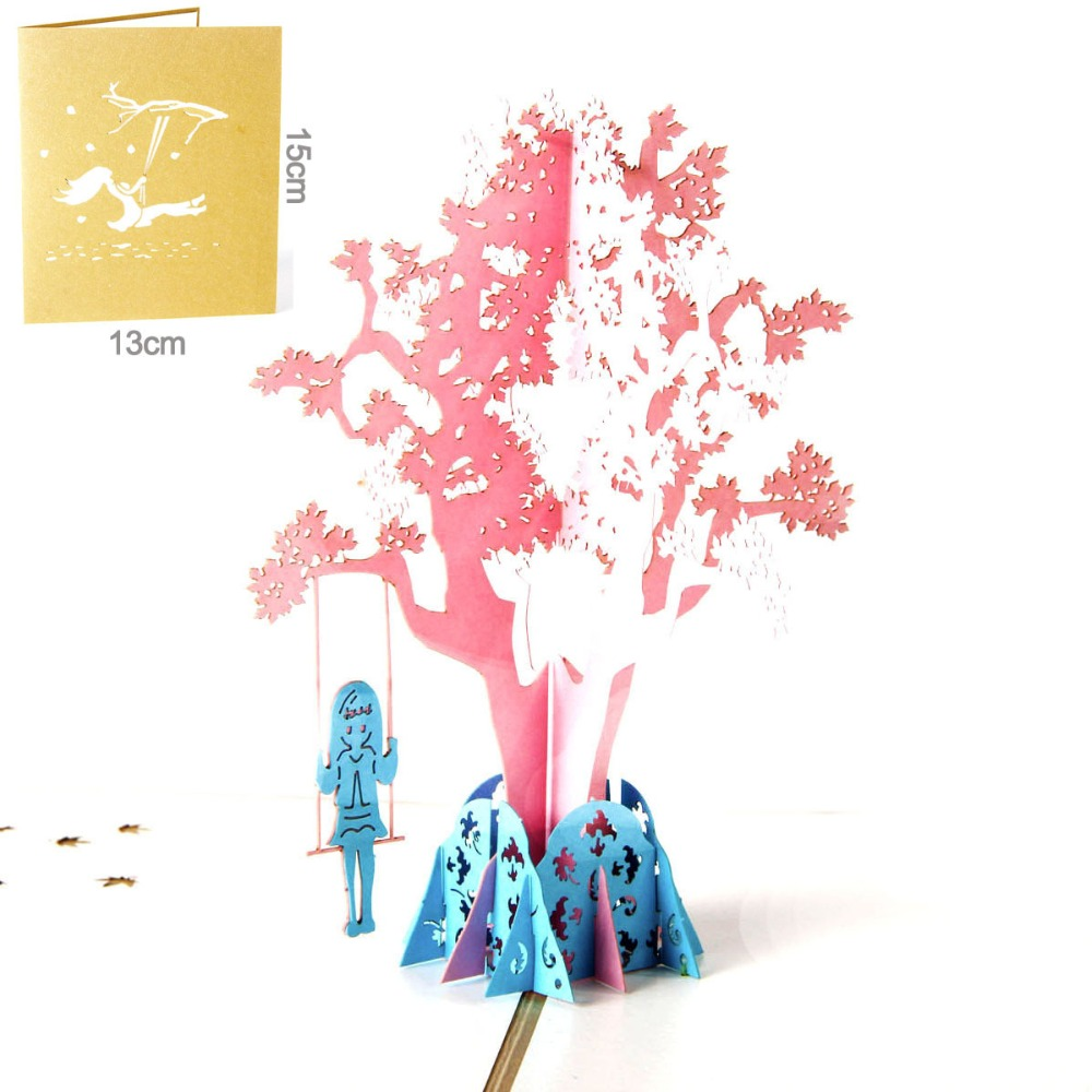 Festive & Party Supplies 3d Pop Up Handmade Laser Cut Vintage Cards Swing Girl Creative Gifts Postcard Birthday Greeting Cards For Children 6a0700