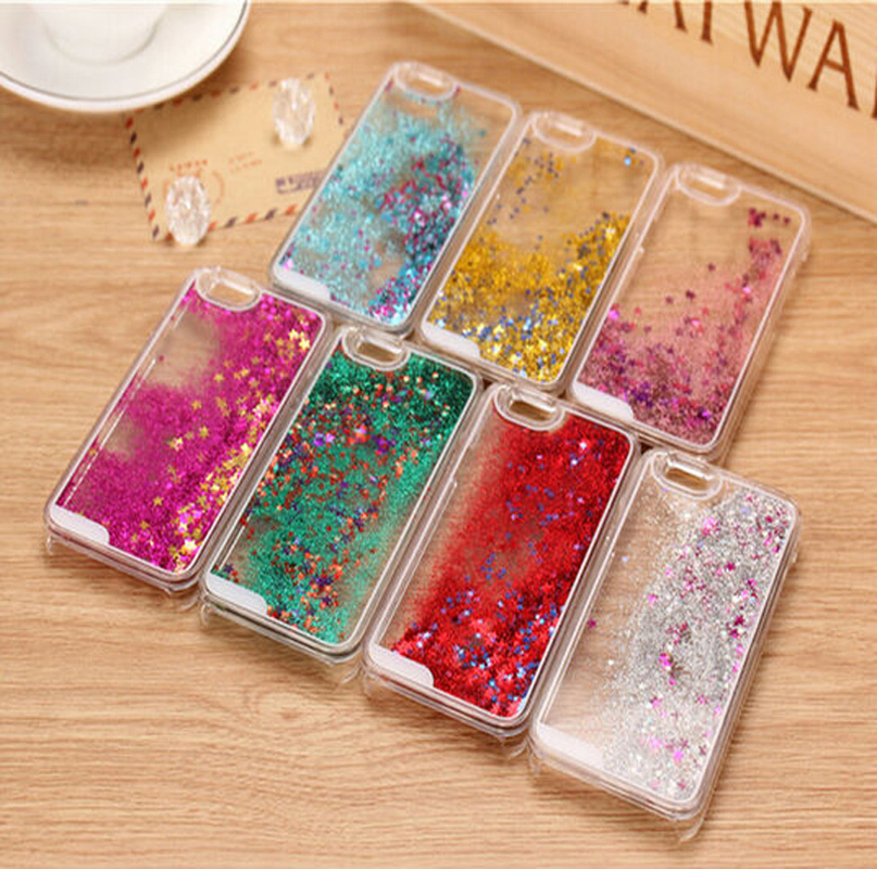 2016 Hot! Glitter bling Quicksand star Liquid hard back cover clear phone case for iphone4 4s 5 5S 6 6s 6plus