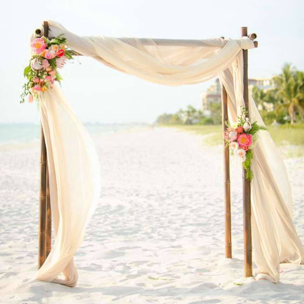 Diy Beach Wedding Arch: Nude Chiffon Fabric For Wedding Backdrops Party Ceremony