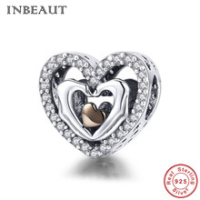 INBEAUT 100% Real 925 Sterling Silver White Cubic Zirconia Hand in Hand Chocolate Heart CZ Beads Charm fit Pandora Bracelet real 925 sterling silver 6mm cubic zirconium round cz tennis bracelet bsqd3055