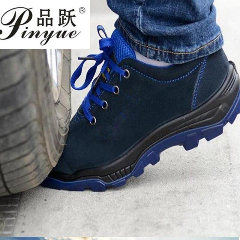 Мужская Рабочая обувь со стальным носком, теплые дышащие мужские повседневные ботинки, проколы, рабочая обувь, мужская обувь большого разме...
