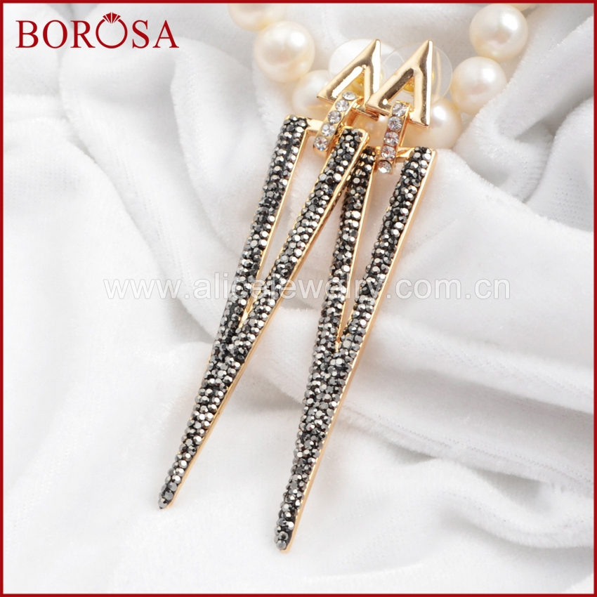 BOROSA Fashion Style Long Triangle Gold Color Copper Stud Earrings Paved Black & White Zircon Stone Stud Earring Jewelry J207