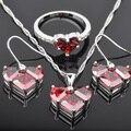Precioso Rojo Cubic Circón Joyería de Plata Para Las Mujeres Pendientes/Colgante/Collar/JS0148 Suena El Envío Libre