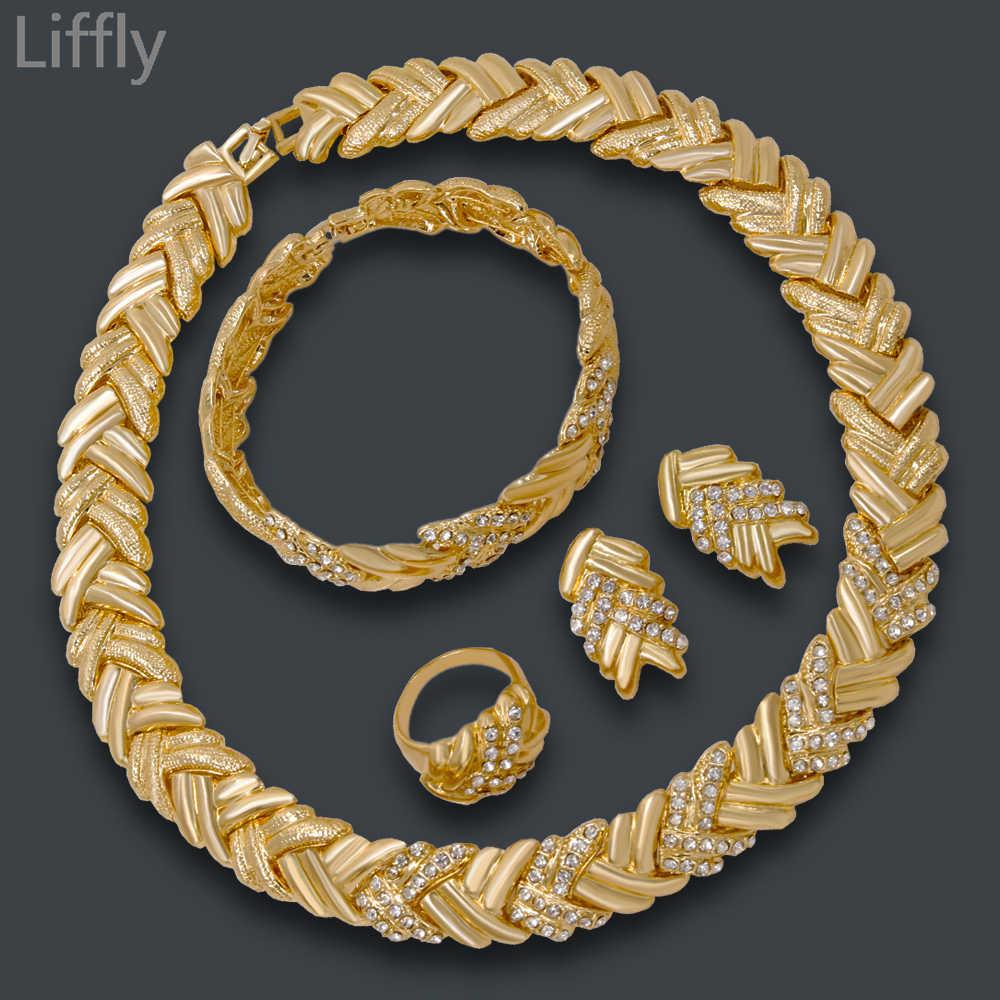 Мода Дубай Свадебные украшения золотое ожерелье Ювелирные наборы Свадебные украшения для женщин