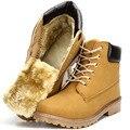 Los Hombres de moda Botas de Nieve Botines de Color Amarillo con Tela De Algodón De Piel De Goma Punta Redonda Botas de Cordones X973 35