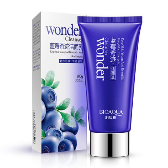 2018 BIOAQUA Brand Blueberry Wonder Facial Cleanser Plant Extract Facial Cleansing Moisturizing Oil Control Face Skin Care 100g