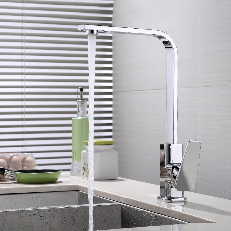 JOOE Contemporary Square Kitchen Faucet Chrome Finished Hot and cold Mixer Tap Single Handle Sink Faucet Deck Mounted torneira hpb brass morden kitchen faucet mixer tap bathroom sink faucet deck mounted hot and cold faucet torneira de cozinha hp4008