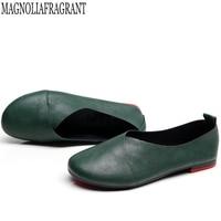 Большие размеры, обувь из натуральной кожи на плоской подошве, женские кожаные лоферы ручной работы, гибкая Весенняя повседневная обувь, же...