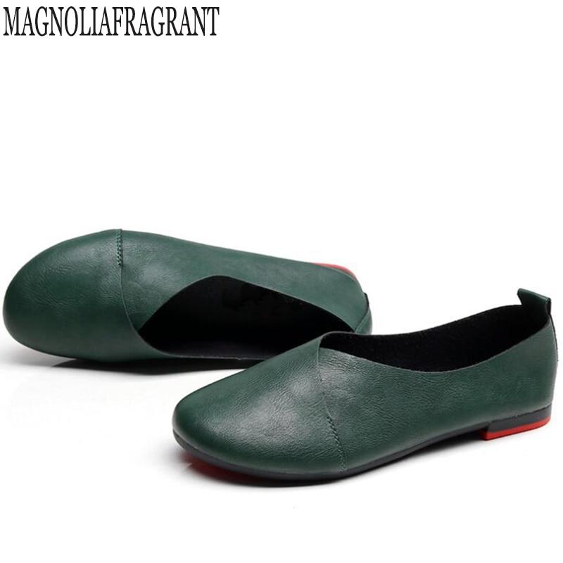 Plus size Genuína sapatos de Couro Mulher Sapatos Baixos Mocassins de Couro Feitos À Mão Flexível Primavera calçados Casuais mulher Flats zapatos mujer k20
