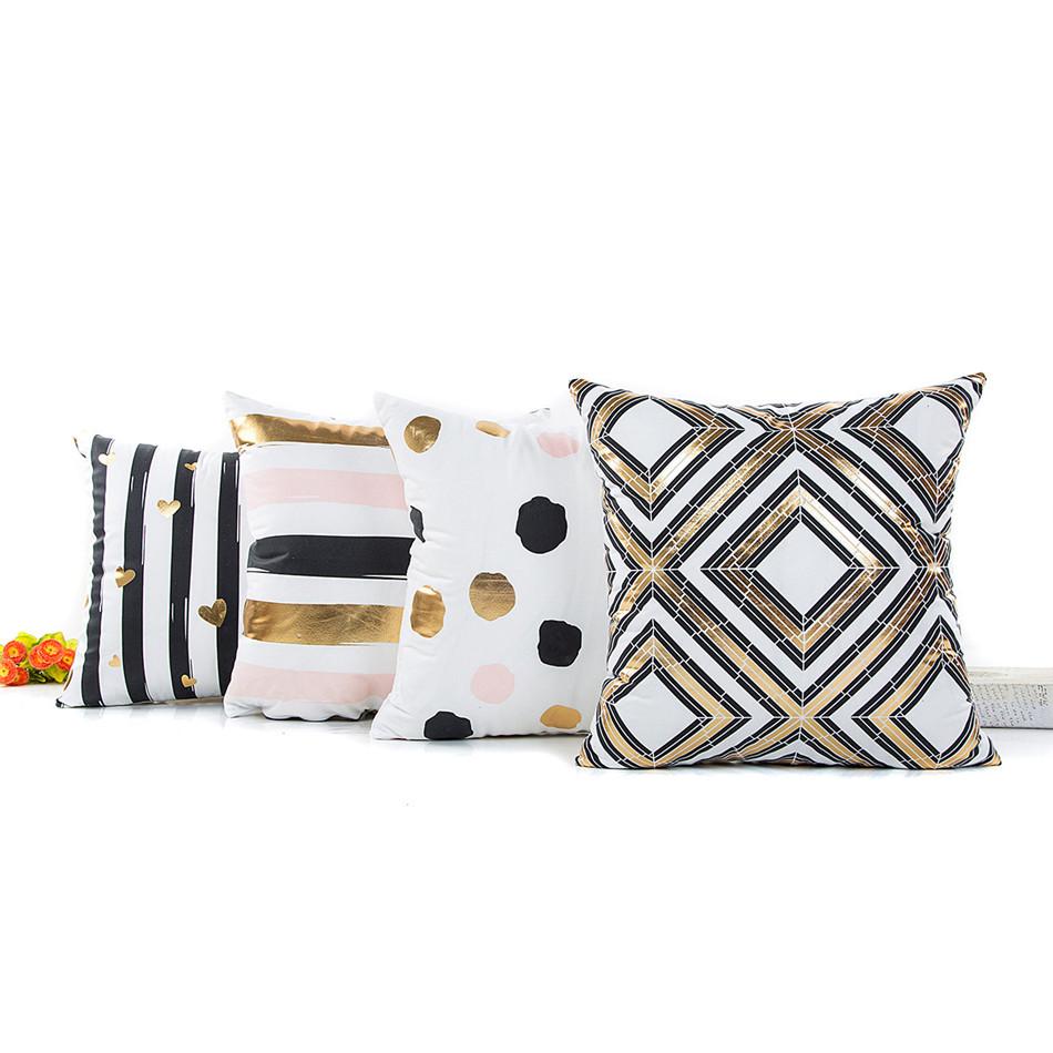 Geometria Bronzing Cushion Cover Strip Love Printed Cotton Pillows Case Sofa Bedroom Home Office Decorative Throw Pillowcases (2)